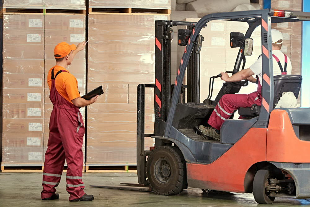 Person using a forklift