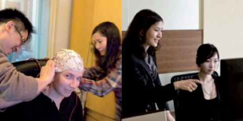 Data collection using Tobii Pro TX-300 and EEG.