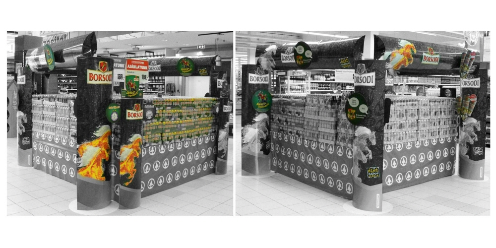 A placement aisle and product display with the areas of interest highlighted.